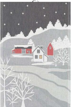 Økologisk køkken håndklæde fra Ekelund med motiv af vinter landskab
