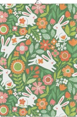 Påske håndklæde fra Ekelund - grønt håndklæde med påskeharer
