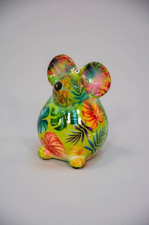 Sjov sparegris til børn og voksne - grøn mus med blade