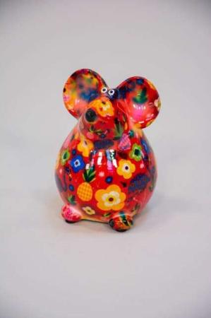Sjov sparegris til børn og voksne - rød mus med blomster