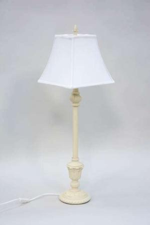 Vintage bordlampe med hvid lampeskærm