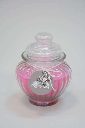 Duft lys i glas - lyserød