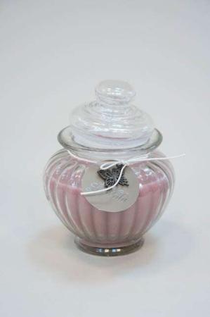 Duftlys i glaskrukke - gammelrosa