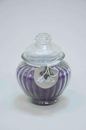 Duftlys i glaskrukke - lilla