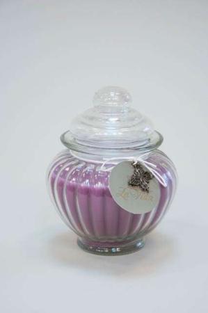 Duftlys i glaskrukke - mørk lilla