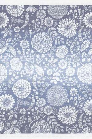 Kvadratisk dug - blå stofdug med hvide blomster - Flyttande blå 75x75