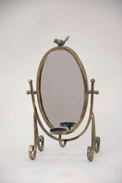 Lille bordspejl med lysholder - antik guld