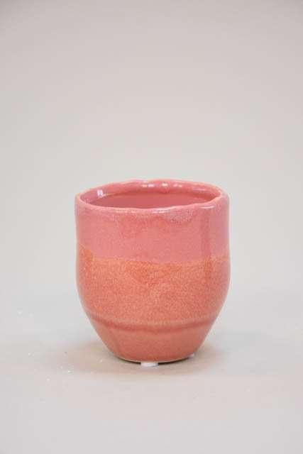Lille potteskjuler med rosa glasur