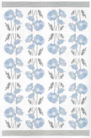 Økologisk stofdug fra Ekelund. grå dug med blå valmuer