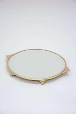 Rund spejlbakke med guld kant
