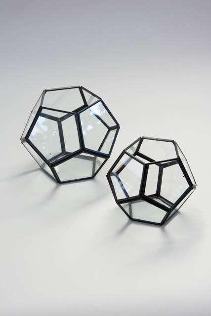 Femkantet hurricane glas med metal kanter