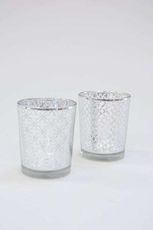Fyrfadsstage af glas - sølv mønster