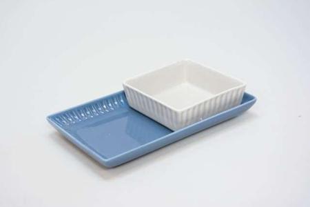 Lille firkantet fad af porcelæn - grace
