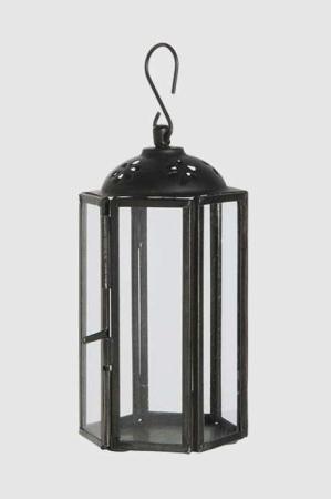 Lille sort lanterne med krog ophæng