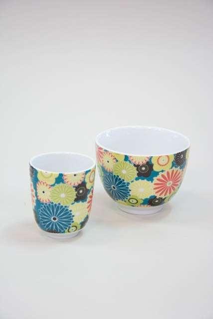 Morgenmadsskål med krus - blomster motiv