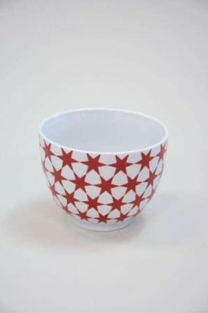 Morgenmadsskål - rød og hvid med stjerner