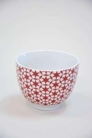 Morgenmadsskål - rød og hvidt stjerne mønster