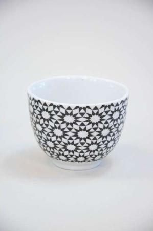 Morgenmadsskål - sort og hvid mønster