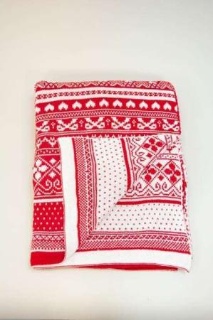 Rød og hvid strik plaid - juletæppe