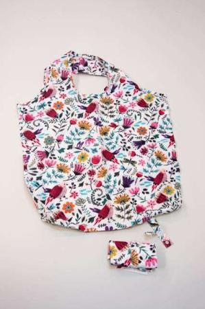 foldbar indkøbspose stof - motiv af fugle og blomster
