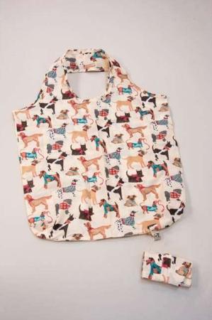 foldbar indkøbspose stof - motiv af hunde