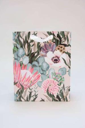 Gavepose med blomst og glimmer - Gavepose med hank