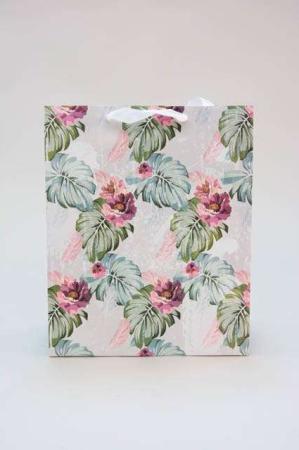 Gavepose med glimmer - Gavepose med blomstermotiv - gavepose med hank