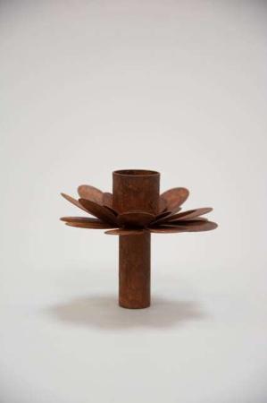 Lysinsats rust - Lysholder til flaske - Lysinsats blomst