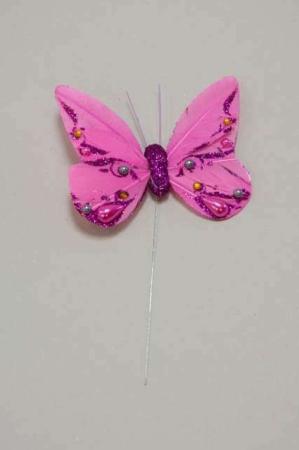 Sommerfugl pink med perler - Sommerfulg på pind