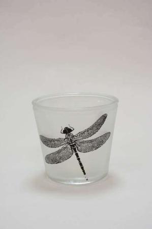 Urtepotteskjuler i frosted glas - Potteskjuler med motiv - Urtepotte med guldsmed