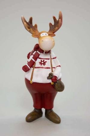 Elgefar i hvid trøje - Julefigur elg