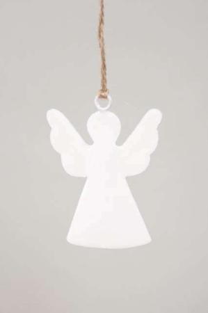 Engel til ophæng med jutesnor - Engel af metal - Juletræspynt 2021