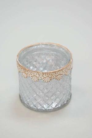 Fyrfadsglas hvid - Fyrfadsstage med guldkant