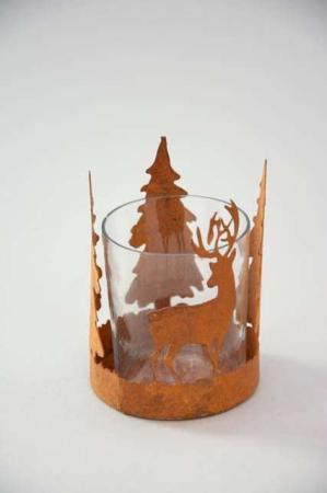 Fyrfadsglas med skovmotiv - Fyrfadsstage i rust look - Julepynt 2021