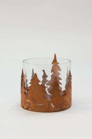 Fyrfadsstage med træmotiv - Fyrfadsstage rust - Fyrfadsstage glas