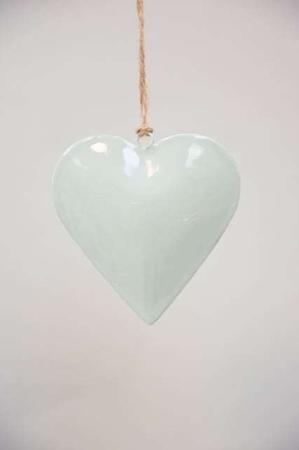 Hjerte til ophæng i metal - Julepynt 2021- Støvgrøn metal hjerte