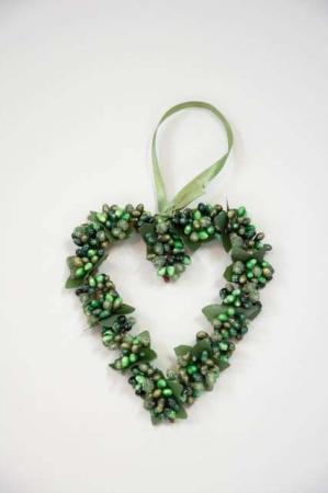 Hjertekrans med grønne bær - Krans til ophæng