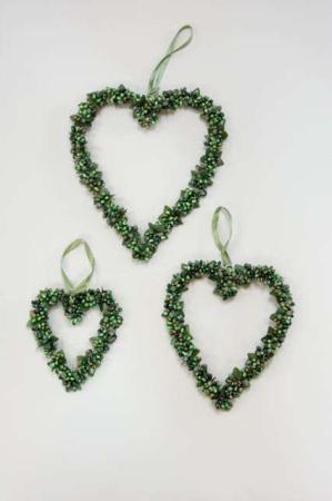Hjertekrans med grønne bær - Krans til ophæng hjerte
