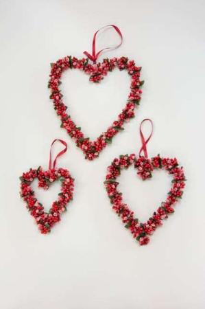 Hjertekrans med røde bær - Hjertekrans til ophæng