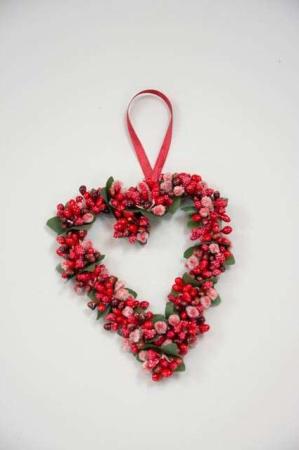 Hjertekrans med røde og brune bær - Krans til ophæng