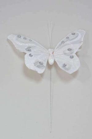 Hvid sommerfugl med glimmer - Hvid sommerfugl på pind