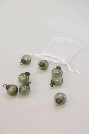 Julekugler i pose - 8 små julekugler i pose - Små mosgrønne julekugler