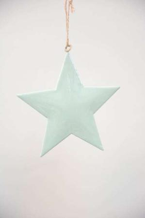 Juletræstpynt 2021 - Metltjerne støvet grøn - Metalstjerne med jutesnor