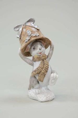 Julefigur mus - Mus med klokke på hovedet