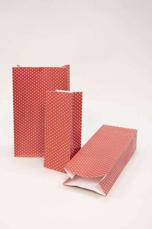 Klodsbundspose rød med hvide prikker - Gavepose til indpakning