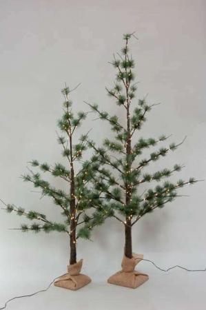 Kunstigt fyrretræ med strømstik - Kunstigt juletræ med lyskæde