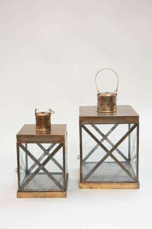 Lanterne i messinglook - Lanterne firkantet - Lanterne metal