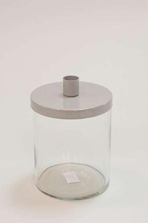 Lysestage i glas med grå låg - Glaslysestage ,med låg