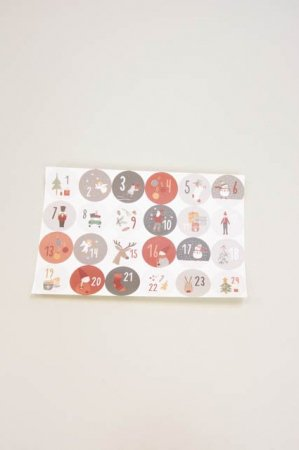 Mærkater til kalender - Klistermærker 1-24 - Ark med klistermærker