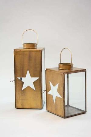 Messingfarvede lanterne - Lanterne med stjerne i døren